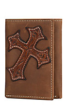 Nocona Aged Bark with Angled Tan Tooled Cross Mens Rodeo Tri-Fold Wallet