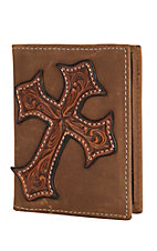 Nocona Men's Aged Bark w/ Tooled Cross Overlay Money Clip / Wallet