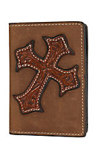 Nocona Men's Aged Bark w/ Tooled Cross Overlay Business Card / Wallet N54218217