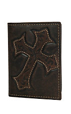 Nocona Men's Chocolate w/ Tooled Cross Inlay Money Clip / Wallet