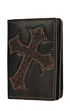 Nocona Men's Chocolate w/ Tooled Cross Inlay Business Card / Wallet