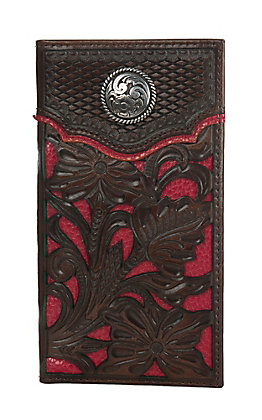Nocona Brown with Red Floral Overlay Rodeo Wallet