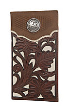 Nocona Brown with Cream Floral Overlay Rodeo Wallet