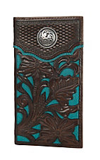 Nocona Brown with Teal Floral Overlay Rodeo Wallet