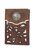 Nocona Cream with Brown Floral Overlay Tri-fold Wallet