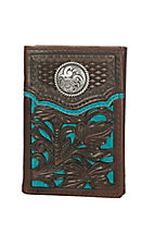 Nocona Teal with Brown Floral Overlay Tri-fold Wallet