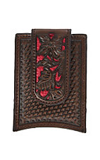 Nocona Brown w/ Red Floral Overlay Money Clip