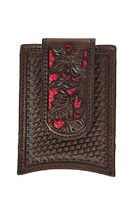 Nocona Brown with Red Floral Overlay Money Clip