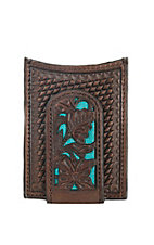Nocona Brown Embossed with Turquoise Inlay Money Clip and Wallet