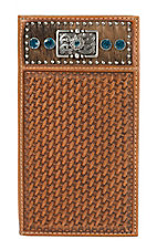 Nocona Blue Stone Natural Basket Weave Wallet