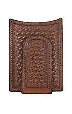 Nocona Brown Basket Weave Money Clip and Wallet
