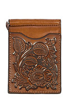 Nocona Tan Floral Embossed Slim Fold Money Clip Wallet