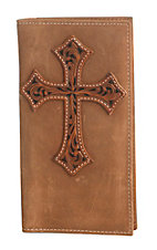 Nocona Brown Leather with a Tooled Overlay Cross on Front Checkbook / Rodeo Wallet