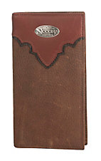Nocona Distressed Brown with Copper Scallop Mens Rodeo Wallet/Checkbook Cover