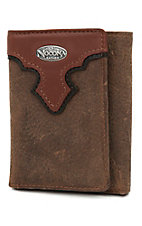 Nocona Distressed Brown with Copper Scallop Tri-Fold Wallet
