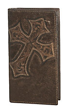 Nocona Dark Brown w/ Diagonal Cross Mens Rodeo Wallet/Checkbook Cover