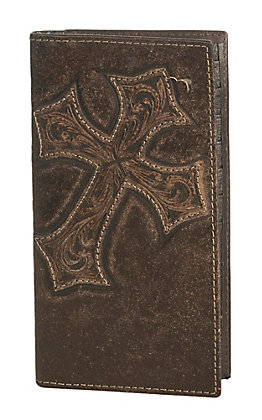 Nocona Dark Brown with Diagonal Cross Mens Rodeo Wallet/Checkbook Cover