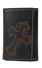 Nocona Dark Brown w/ Diagonal Cross Mens Rodeo Tri-Fold Wallet