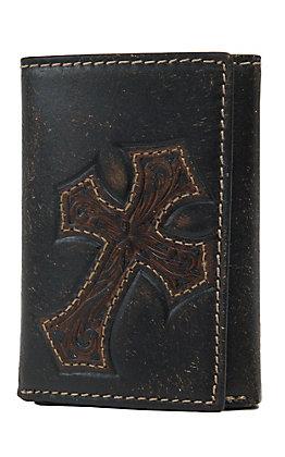 Nocona Dark Brown with Diagonal Cross Mens Rodeo Tri-Fold Wallet