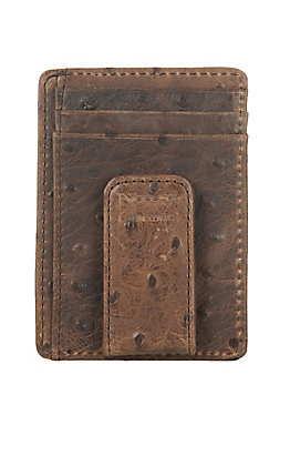 Nocona Brown Vintage Ostrich Print Money Clip and Wallet