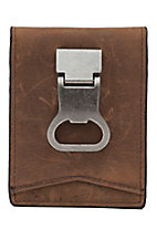 DBL Barrel Distressed Brown with Bottle Cap Money Clip Bi-Fold Wallet