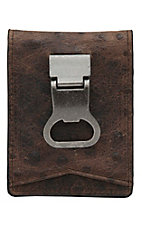 DBL Barrel Brown Ostrich Print with Bottle Cap Money Clip Bi-Fold Wallet