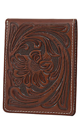 Nocona Brown Floral Tooled Passcase Bi-Fold Wallet
