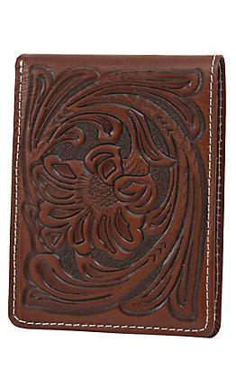 Nocona Brown Floral Tooled Passcase Bi-Fold Wallet