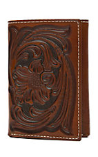 Nocona Tan Floral Tooled Tri-fold Wallet