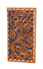 Nocona Tan Embossed with Royal Inlay Rodeo Wallet / Checkbook Cover