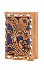 Nocona Tan Embossed with Royal Inlay Tri Fold Wallet