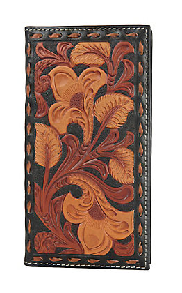 Nocona Black with Tan Floral Overlay Rodeo Wallet