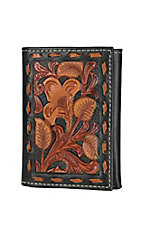 Nocona Black with Multi Brown Floral EmbossedTri-fold Wallet
