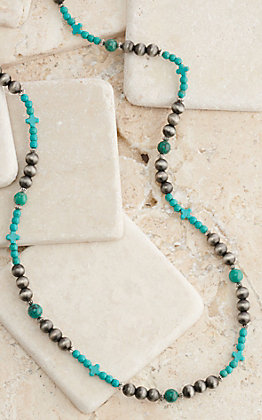West & Co Turquoise and Silver Beaded Necklace