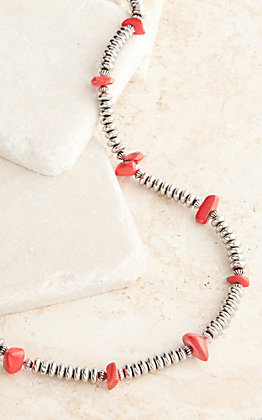 West & Co Silver Beads with Red Stone Accents Necklace