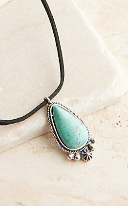 West & Co Black Leather with Turquoise Pendant Necklace
