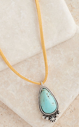 West & Co Mustard Leather with Turquoise Pendant Necklace
