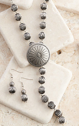 West & Co Silver Melon Beads with Concho Y Necklace and Earrings Jewelry Set