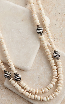 West & Co ivory and Silver Melon Beads Necklace