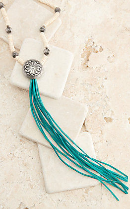 West & Co Ivory and Silver Melon Beads with Concho and Turquoise Leather Tassel Necklace