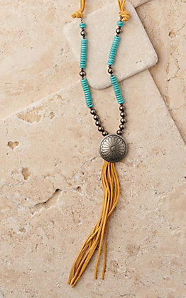 West & Co Silver and Turquoise Beads with Silver Concho and Mustard Leather Tassel Necklace