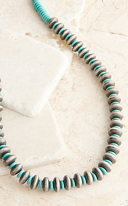 West & Co Faux Navajo Pearl and Turquoise Disc Beads Necklace