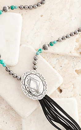 West & Co Black Leather with Silver and Turquoise Beads Concho Tassel Necklace