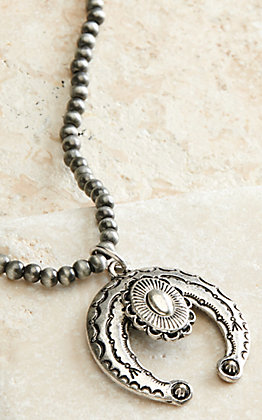 West & Co Small Navajo Beads with Large Antiqued Squash Blossom Pendant Necklace