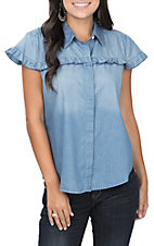 Umgee Women's Denim Cap Sleeve Ruffle Fashion Top