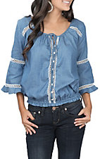 Umgee Women's Denim Draw String Neck Fashion Top