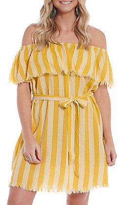 Umgee Women's Lemon Striped Off The Shoulder Dress