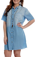 Umgee Women's Light Denim Short Sleeve Button Down Dress
