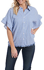 Umgee Women's Blue and White Stripe Ruffle Short Sleeve Fashion Top