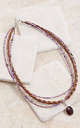 Cowboy Collectibles Multi Strand With Lilac Cabochon Pendant Necklace